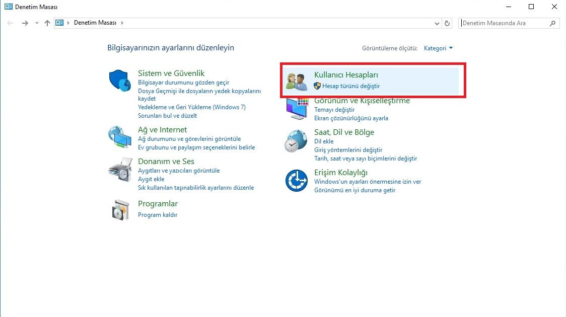 windows 10 kullanıcı hesabı oluşturma