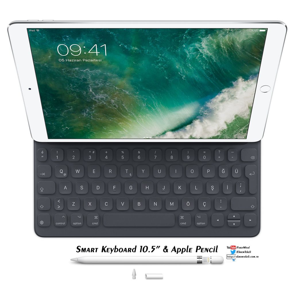 ipad pro 10.5,smart keyboard,türkçe,apple pencil,2017