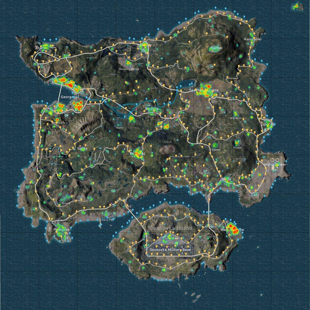 pubg erangel loot map,location,araba,silah,nokta